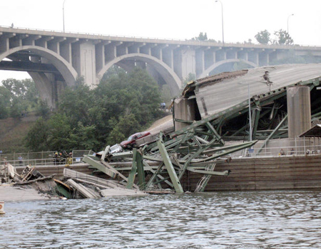 I-35W bridge collapse in Minneapolis, August 1, 2007