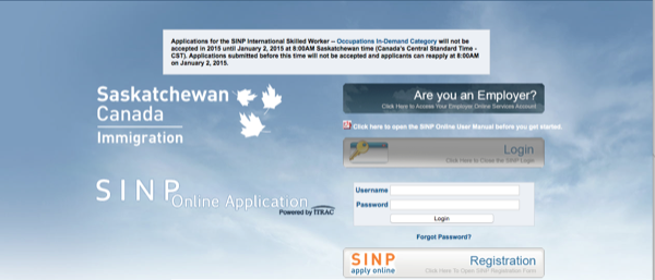 The SINP login page