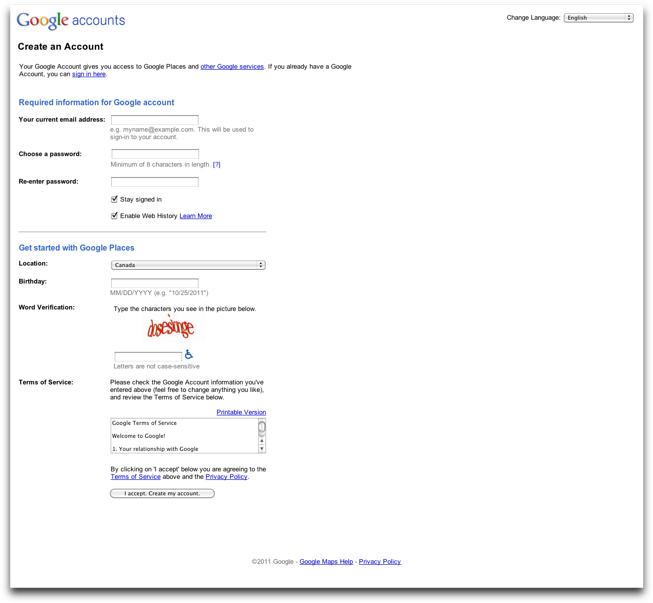 Google Account Sign Up
